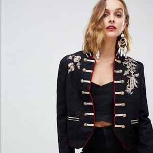Free People lauren band embroidered jacket